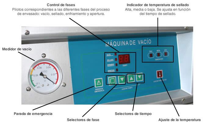 Panel de control de la maquina para envasar al vacío MVAC 400A
